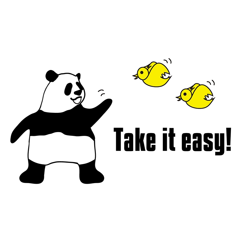 take it easyのパンダの絵