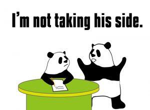 I'm not taking his side.のパンダの絵