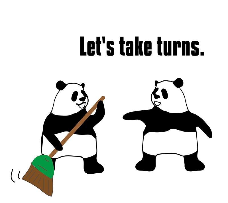 take turnsのパンダの絵