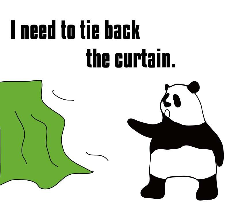 tie backのパンダの絵