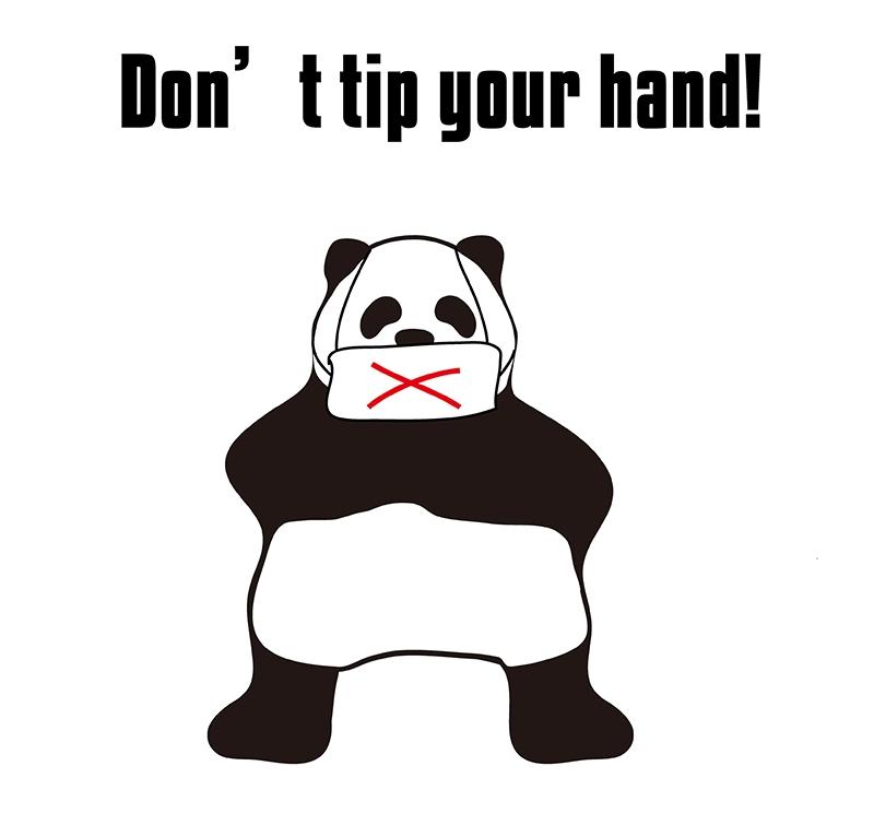 tip one's hand のパンダの絵