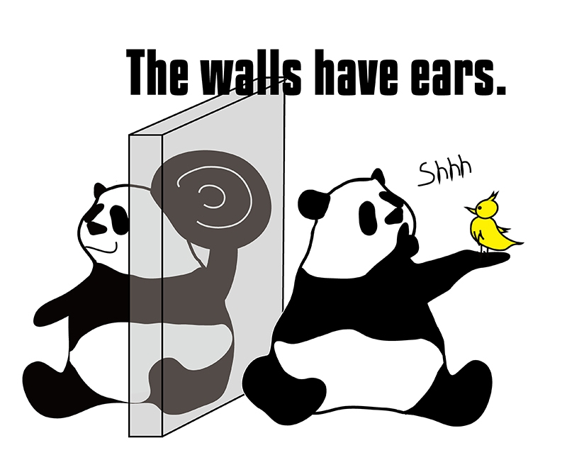 the walls have earsのパンダの絵