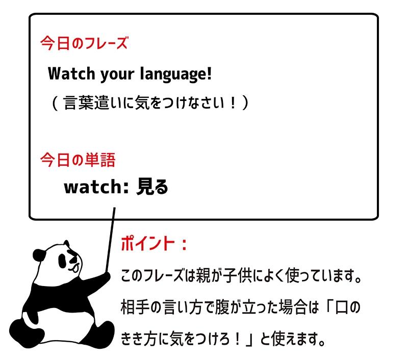 watch your languageのフレーズ
