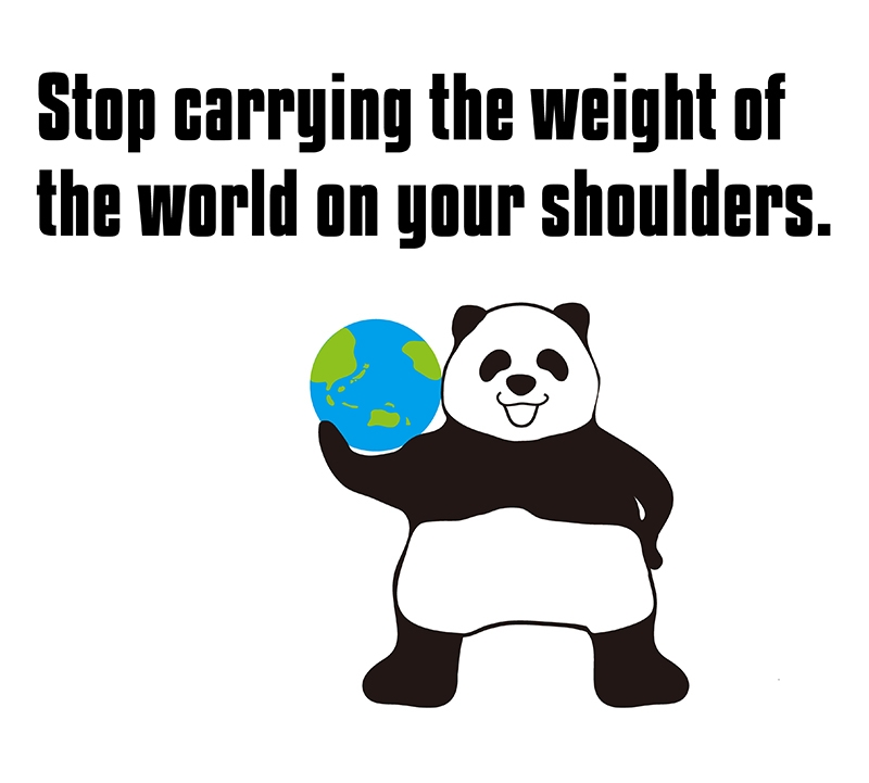 carry the weight of the world on one's shoulderのパンダの絵